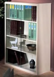 All Steel Bookshelves With Optional Glass Door.