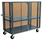 "48""L x 24""W, 4-Sided Enclosed Security Cage Cart with Shelf."