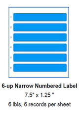 "6-up Narrow Numbered Label, 7.5"" x 1.25""."