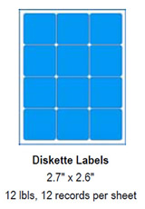 "iskette Labels, 2.7"" x 2.6""."