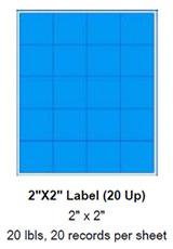 "2"" x 2"" Label (20 Up)."