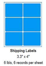 "Shipping Labels, 3.3"" x 4""."