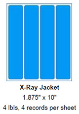 "X-Ray Jacket Labels, 1.875"" x 10""."