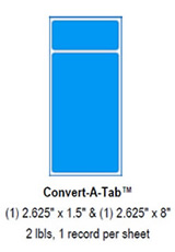 "Convert-A-Tab Labels: (1)2.625"" x 1.5"" and (1)2.625"" x 8""."