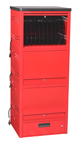 LapTop Depot Tower™ is built to store, secure, and charge laptops in a permanent setting.