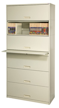 Stak-N-Lok™'s 200 series shelving features a Posting Shelf above the third tier.