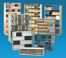ThinStak open shelf filing systems for letter, legal, binder, book, x-ray jacket, mammogram and multimedia.