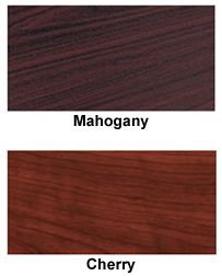 real wood veneers richly finished in cherry or mahogany