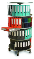 "32"" Diameter Binders & Multimedia Carousel. Each tier rotates independently."