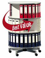 "32"" Diameter Spin-N-File Binders Carousel, entire unit turns in a full rotation."