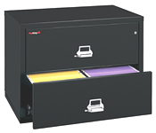 Fireproof lateral files 1-hour fire and impact rated.