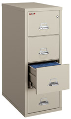 Fireproof vertical filing cabinets.