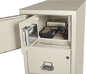 The Safe-In-A-File's design cleverly conceals a 2.4 cubic foot, burglary-resistant safe behind a false top drawer panel.