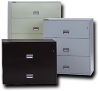 Fireproof lateral cabinets available in 2, 3, and 4 drawer models.