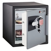 This safe features an advanced LCD electronic lock system with backlit keypad, programmable PIN access and tubular key lock.