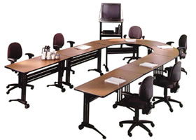 Crescent and Rectangular Training Tables offer contemporary style and are easy to reconfigure for today's diverse training needs