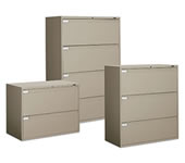Fixed front lateral file cabinets.
