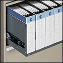"Ring binder storage in ""B"" type receding door openings."