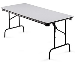 This Rectangular Folding Tables have protective plastic corners, vinyl T-mold edging and a locking mechanism.