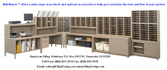 Modular mailroom mailmaster systems, mail sort stations, sort modules, mailroom cabinets and tables, literature sorting rack and more.