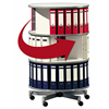 Ring binder carousel for binders and multimedia storage.