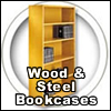 High quality handcrafted wood and steel bookcases.