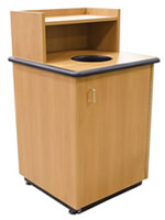 Round Drop Top Waste Receptacle with Tray Shelf.