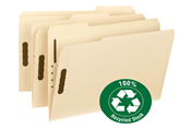 100% Made of Recycled Material, Manila Fastener File Folders With Reinforced Tab.