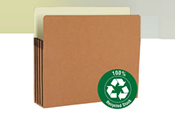 "Manage bulky records with sturdy file pockets that expand up to 5-1/4"". Made of 100% recycled material."