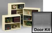 Bookcases are available without doors, however if you choose, a glass door kit can be purchased to retrofit bookcases with glass doors.