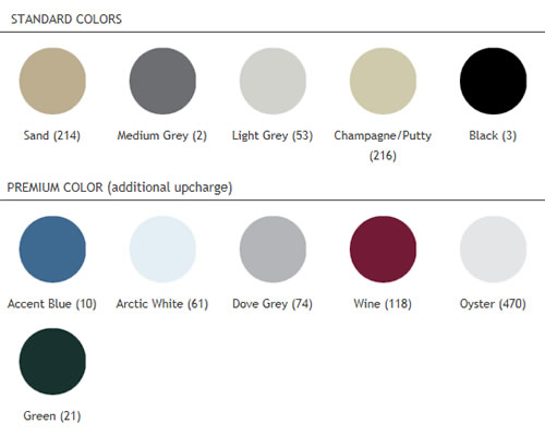 Standard color options.