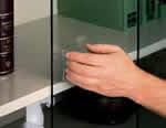 Sliding tempered safety glass doors protect materials from dust while safety lock prevents unauthorized access.
